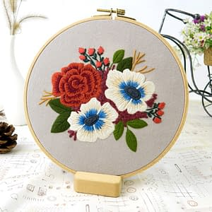 DIY Embroidery Flower Materials Package Embroidery Hoop