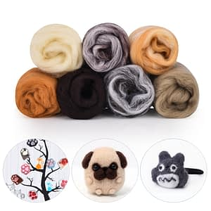 7 Color Needle Felting Wool Felt Craft Kit Starter