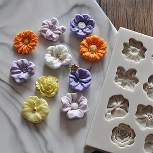 Sunflower Rose Flowers Shape Silicone Mold Cake Border