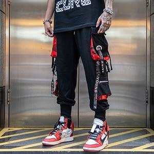 Men Hip Hop Black Cargo Pants